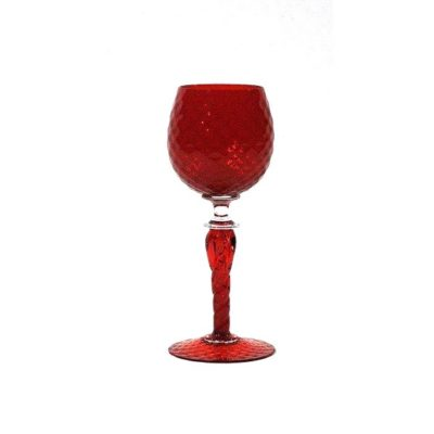Pieper red glass goblet