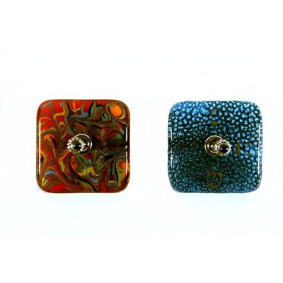 fused glass, square and beaded dreidels
